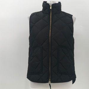 J. Crew factory black quilted puffer vest sz S FJ1